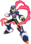 1boy alternate_costume armor forehead_jewel green_eyes gun helmet highres official_art orb rockman_x_dive scarf weapon x_(rockman)