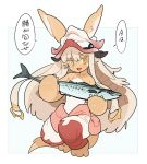 1other :o animal_ears barefoot blush bunny_girl claws colored_eyelashes eyebrows eyebrows_visible_through_hair fang fish flat_chest full_body fur furry hair_ornament hat highres holding_fish horns kazue1000 long_hair looking_at_viewer made_in_abyss midriff nanachi_(made_in_abyss) open_mouth pants pouch puffy_pants rabbit rabbit_ears simple_background solo speech_bubble stomach straight_hair tail whiskers white_background yellow_eyes