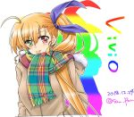 1girl :p ahoge alternate_costume blonde_hair blue_ribbon blush brown_coat casual character_name coat commentary_request dated green_eyes hair_ribbon heterochromia hood hood_down hooded_coat long_hair lyrical_nanoha mahou_shoujo_lyrical_nanoha_strikers mahou_shoujo_lyrical_nanoha_vivid older rainbow_gradient rainbow_scarf red_eyes ribbon san-pon scarf side_ponytail solo tongue tongue_out twitter_username upper_body very_long_hair vivio white_background
