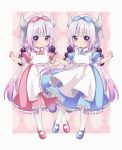 2girls :o apron argyle argyle_background bangs beads blue_bow blue_dress blue_eyes blue_footwear blue_hairband blush bow club_(shape) collared_dress commentary diamond_(shape) dragon_horns dress dual_persona eyebrows_visible_through_hair frilled_apron frilled_bow frilled_dress frills hair_beads hair_bow hair_ornament hairband heart highres horns kanna_kamui kobayashi-san_chi_no_maidragon long_hair low_twintails maid_apron mary_janes multiple_girls pantyhose parted_lips pikomarie pink_bow pink_dress pink_footwear pink_hairband pleated_dress puffy_short_sleeves puffy_sleeves purple_hair shoes short_sleeves spade_(shape) tail twintails very_long_hair white_apron white_legwear
