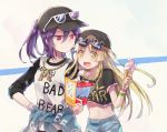 2girls :d backwards_hat bang_dream! bangs baseball_cap black_headwear black_shirt blonde_hair bracelet brochure chain_necklace character_print clothes_around_waist clothes_writing crop_top earrings eyewear_on_headwear food hand_on_hip hat holding holding_food ice_cream_cone jewelry michelle_(bang_dream!) multiple_girls navel open_mouth oto_(rozeko) paw_print ponytail print_shirt purple_hair raglan_sleeves red_eyes seta_kaoru shirt shirt_around_waist short_sleeves sidelocks smile sunglasses tsurumaki_kokoro upper_body yellow_eyes