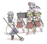 6+girls ascot bangs blonde_hair blue_dress blue_hair boots broom closed_mouth coffin dancing dancing_pallbearers dress flandre_scarlet frills full_body hair_between_eyes hat highres holding holding_broom izayoi_sakuya long_skirt maid maid_headdress meme mob_cap multiple_girls multiple_persona open_mouth parody peroponesosu. pink_dress puffy_short_sleeves puffy_sleeves red_eyes red_skirt red_vest remilia_scarlet short_hair short_sleeves side_ponytail silver_hair simple_background skirt smile sunglasses sweatdrop touhou vest white_background wings yellow_neckwear