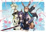 3girls amiya_(arknights) animal_ears anniversary arknights ch'en_(arknights) chinese_text closed_eyes confetti cravat dragon_horns dragon_tail english_text hood hooded_jacket horns hug hug_from_behind jacket jewelry kal'tsit_(arknights) labcoat lynx_ears multiple_girls necktie official_art rabbit_ears ring shorts skirt smile sword tail translation_request weapon