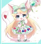 1girl :d alice_(cat_busters) animal_ears blonde_hair blue_eyes bow cat cat_busters cat_ears cat_girl cat_tail commentary_request full_body furry green_bow hair_bow highres holding holding_staff long_hair long_tail looking_at_viewer open_mouth smile socks solo staff standing striped striped_bow syuya tail whiskers white_fur