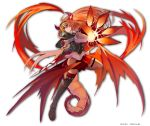 1girl ahoge artist_name black_legwear breasts claws closed_mouth commentary_request dragon_horns dragon_wings full_body groin hairband highres hololive horns kiryuu_coco large_breasts leg_up loafers long_hair low_wings ohkuro_marimo orange_eyes orange_hair pleated_skirt pointy_ears red_skirt shoes single_thighhigh skirt solo thigh-highs very_long_hair virtual_youtuber white_background wings