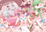 :d blue_eyes cherry_blossoms commentary_request creature gardevoir gen_3_pokemon gen_6_pokemon gen_8_pokemon happy hatterene looking_at_viewer maiko_(mimi) no_humans open_mouth pokemon pokemon_(creature) red_eyes smile sylveon