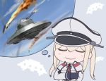 1girl black_gloves blonde_hair blush capelet closed_eyes crossed_arms gloves graf_zeppelin_(kantai_collection) hair_between_eyes hat imagining kantai_collection long_hair long_sleeves military military_uniform peaked_cap rokuwata_tomoe sidelocks smile solo twintails ufo uniform upper_body