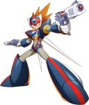 1boy android armor axl dual_wielding forehead_jewel gun handgun helmet highres holding official_art orange_hair pistol rockman_x_dive smile spiky_hair weapon wings