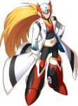 1boy alternate_costume android armor blonde_hair blue_eyes breastplate forehead_jewel helmet highres labcoat official_art orb rockman_x_dive white_day zero_(rockman)
