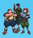 1girl 2boys absurdres bandana biggs_(ff7) blue_background blue_leotard boots breastplate brown_eyes brown_hair cracking_knuckles culottes detached_sleeves explosive eyeshadow facial_hair final_fantasy final_fantasy_vii final_fantasy_vii_remake full_body greaves grenade grin gun handgun headband highres holding holding_gun holding_weapon impossible_armor jessie_rasberry knee_pads leotard leotard_under_clothes long_hair looking_at_viewer makeup male_focus multiple_boys obese pauldrons pistol ponytail red_headband shirt short_hair shorts smile stubble t-shirt trigger_discipline voodoothur weapon wedge_(ff7)