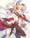 1girl :d animal_ears backless_outfit bangs bare_shoulders blonde_hair blush braid breasts brown_legwear commentary_request detached_sleeves dog dog_ears dog_girl dog_tail erune eyebrows_visible_through_hair fish granblue_fantasy hair_ornament japanese_clothes jiman looking_at_viewer open_mouth pantyhose puppy rope shimenawa short_hair small_breasts smile solo tail vajra_(granblue_fantasy) wide_sleeves