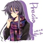 1girl alternate_costume black_shirt casual character_name commentary_request dated eyebrows_visible_through_hair hair_between_eyes highres long_hair long_sleeves lyrical_nanoha mahou_shoujo_lyrical_nanoha precia_testarossa purple_hair san-pon scarf shirt solo sweatdrop twitter_username upper_body violet_eyes white_background