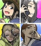 4girls 4panels :d adjusting_headphones asakusa_midori asymmetrical_bangs bangs black_eyes black_hair blonde_hair blue_background blue_eyes blue_shirt bob_cut brown_eyes brown_hair bucket_hat camouflage_headwear cellphone commentary copyright_name dark_skin doumeki_parker eizouken_ni_wa_te_wo_dasu_na! eyewear_on_head from_below from_side frown furrowed_eyebrows glasses green_background green_headwear green_hoodie hand_on_own_face hand_to_own_mouth hands_on_headphones hat headphones henriiku_(ahemaru) holding holding_pencil holding_phone hood hoodie kanamori_sayaka light_blush long_hair looking_afar looking_at_viewer looking_away looking_back looking_down mizusaki_tsubame multiple_girls open_mouth pencil phone pink_background portrait school_uniform semi-rimless_eyewear serafuku serious shirt short_hair smartphone smile talking_on_phone teeth yellow_background