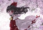 1girl ascot black_hair blurry blurry_foreground bow branch brown_eyes cherry_blossoms commentary_request depth_of_field detached_sleeves floating_hair flower frilled_shirt_collar frills from_side hair_bow hair_tubes hakurei_reimu highres kibisake long_hair long_sleeves looking_away petals profile purple_flower red_bow red_shirt red_skirt ribbon-trimmed_sleeves ribbon_trim sarashi shirt skirt sleeveless sleeveless_shirt solo touhou tree_branch upper_body white_sleeves wide_sleeves wind yellow_neckwear