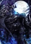 1boy armor blue_fire cloak fate/grand_order fate_(series) fire full_armor full_moon glowing glowing_eyes horns kei-suwabe king_hassan_(fate/grand_order) looking_at_viewer moon night night_sky shoulders skull skull_mask sky solo spikes sword twitter_username weapon