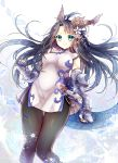1girl absurdres animal_ears aqua_eyes black_hair black_legwear blue_gloves brass_knuckles china_dress chinese_clothes dragon_ears dragon_girl dragon_horns dragon_tail dress fingerless_gloves gloves head_fins highres horns kanataww karin_(p&d) pantyhose puzzle_&_dragons spiked_knuckles tail weapon