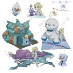 1girl blonde_hair blue_eyes commentary creature eiscue elsa_(frozen) english_commentary frozen_(disney) frozen_2 galarian_darmanitan galarian_form gen_2_pokemon gen_5_pokemon gen_8_pokemon golurk highres multiple_views pokemon_(creature) ponytail signature simple_background standing suicune toxel vanillite white_background