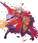 1girl armor armored_boots axe aymr_(weapon) boots cape double_bun edelgard_von_hresvelg fire_emblem fire_emblem:_three_houses fire_emblem_heroes full_body gloves haccan highres horns injury long_hair official_art shield solo teeth torn_clothes transparent_background violet_eyes white_hair
