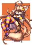 :3 ahoge animal_ears breasts brown_hair candy commentary_request food full_body furry halloween holding holding_food long_hair looking_at_viewer orange_eyes original pawpads simple_background striped striped_legwear tail thigh-highs tongue tongue_out tsuji wolf wolf_ears wolf_girl wolf_tail