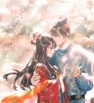 1boy 1girl bangs black_hair blue_jacket closed_eyes closed_mouth commentary_request eyebrows_visible_through_hair flower hagoromo hair_between_eyes hair_bun hair_flower hair_ornament jacket long_hair long_sleeves original profile red_eyes red_flower red_string say_hana shawl smile string string_around_finger tree_branch upper_body wide_sleeves