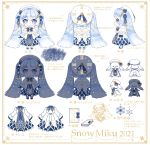 beret blue_gloves book capelet character_sheet chibi clock_print coat commentary dress fur-trimmed_coat fur-trimmed_footwear fur_trim gloves hat hatsune_miku highres light_blue_eyes light_blue_hair lights multiple_views natumikan007723 rabbit_yukine roman_numerals snowflake_print translation_request twintails vocaloid white_beret white_capelet white_dress white_headwear yuki_miku