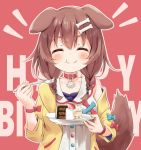 1girl :t ^_^ animal_ears bangs blue_bow blush bone_hair_ornament bow bracelet braid brown_hair buttons cake cartoon_bone chewing closed_eyes collar collarbone commentary dog_collar dog_ears dog_girl dog_tail dress eating english_text eyebrows_visible_through_hair food fork hair_between_eyes hair_ornament hairclip happy_birthday highres holding holding_fork holding_plate hololive inugami_korone jacket jewelry long_hair low_twin_braids low_twintails minazuki_mizu nail_polish off-shoulder_jacket plate raised_eyebrows red_background red_bow red_collar smile solo tail twin_braids twintails upper_body virtual_youtuber white_dress wristband yellow_jacket yellow_nails