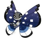 ambunny black_eyes bug butterfly commentary creature english_commentary full_body gen_6_pokemon insect looking_at_viewer no_humans pokemon pokemon_(creature) signature solo transparent_background vivillon vivillon_(polar)