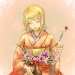 1girl aihara-rina bangs blonde_hair chinese_commentary closed_eyes commentary flower hair_ornament hairclip holding holding_flower japanese_clothes kagamine_rin kimono orange_background orange_kimono pink_flower purple_flower red_flower short_hair smile solo swept_bangs upper_body vase vocaloid