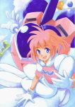 80's :d bell blue_eyes blush cloud flat_chest flying gloves hands heart hirokazu mecha oldschool open_mouth outdoors pastel pastel_(twinbee) pink_hair short_hair sitting sky smile traditional_media twinbee water