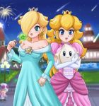 blonde_hair blue_eyes crown dress earrings elbow_gloves gloves green_eyes hat jewelry luma nintendo princess_peach rosalina sigurdhosenfeld star_bit super_mario_bros. super_mario_galaxy toad wand