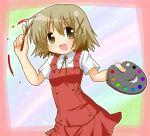 1girl art_brush hidamari_sketch minami_(colorful_palette) paintbrush palette school_uniform solo yuno