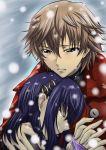 brown_hair chin_rest closed_eyes embrace holding hug kanzato_shin morimoto_kanaru persona persona_trinity_soul segami_daisuke short_hair snow tears