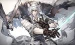 1boy animal_ears arknights bangs bird black_neckwear brown_eyes cape cape_billowing collarbone collared_shirt eyebrows_visible_through_hair fur_trim gloves hair_between_eyes hawk holding holding_sword holding_weapon leopard_ears leopard_tail looking_at_viewer loose_necktie male_focus medium_hair necktie parted_lips ryuuzaki_ichi shirt silver_hair silverash_(arknights) sleeves_folded_up sword sword_cane tail tenzin_(arknights) upper_body v-shaped_eyebrows weapon