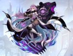 1girl ahoge animal animal_ears armpits bare_shoulders bear boots braid breasts chain company_name detached_sleeves fur_collar gauntlets glasses gloves glowing glowing_weapon huge_breasts leotard long_hair looking_at_viewer lost_ragnarok_(phantom_of_the_kill) official_art phantom_of_the_kill purple_hair ribbon serious shadow single_gauntlet single_glove skindentation staff thigh-highs thigh_boots vanargand_(phantom_of_the_kill) very_long_hair waist_cape weapon yellow_eyes