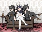 3girls absurdres alcohol animal_ears annoyed antelope_ears antelope_horns apron arm_support armpits australian_devil_(kemono_friends) bangs bare_shoulders batten_japari_dan black_apron black_cape black_hair black_legwear blackbuck_(kemono_friends) bottle bow bowtie brown_eyes cape couch crossed_legs cup detached_sleeves drink drinking_glass eyepatch full_body furrowed_eyebrows gloves grey_eyes grey_hair grin hair_between_eyes highres horns indoors kemono_friends kemono_friends_3 leaning_back long_hair looking_at_viewer medical_eyepatch medium_hair miniskirt multicolored_hair multiple_girls on_couch open_mouth own_hands_together pantyhose shimosami shirt shoes sitting skirt sleeveless sleeveless_shirt smile swept_bangs tasmanian_devil_(kemono_friends) tasmanian_devil_ears thigh-highs two-tone_hair v-shaped_eyebrows waist_apron white_hair white_legwear zettai_ryouiki