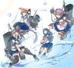 4girls adapted_turret ahoge akebono_(kantai_collection) akicosmossakasa apron badge bandaid bandaid_on_face bell black_hair black_legwear blue_sailor_collar blue_skirt brown_eyes brown_hair cannon crab elbow_pads flower frilled_apron frilled_skirt frills hair_bell hair_bobbles hair_flower hair_ornament highres jingle_bell kantai_collection knee_pads kneehighs long_hair machinery multiple_girls oboro_(kantai_collection) pleated_skirt puffy_short_sleeves puffy_sleeves purple_hair remodel_(kantai_collection) sailor_collar sazanami_(kantai_collection) school_uniform serafuku short_hair short_sleeves side_ponytail skirt smokestack thigh-highs torpedo_launcher turret twintails ushio_(kantai_collection) very_long_hair violet_eyes waist_apron white_apron white_legwear wrist_cuffs