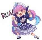 1girl ahoge anchor_symbol aqua_hair aqua_nails blue_dress blue_footwear blue_neckwear blush bow bowtie braid breasts chibi claw_pose commentary dress drill_hair english_commentary eyebrows_visible_through_hair eyes_visible_through_hair french_braid frilled_dress frills frostcyco full_body hair_between_eyes hair_ribbon hololive long_hair looking_at_viewer maid_headdress medium_breasts minato_aqua mixed-language_commentary multicolored_hair nail_polish open_mouth pose puffy_short_sleeves puffy_sleeves purple_hair ribbon shoes short_sleeves simple_background smile solo standing streaked_hair twin_drills twintails two-tone_hair violet_eyes virtual_youtuber white_background wrist_cuffs