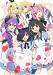 6+girls :d :o ;d ahoge alice_(wonderland) alice_(wonderland)_(cosplay) alice_in_wonderland amatsuka_poi animal_ear_fluff animal_ears apron arm_up bangs black_bow black_choker black_hair black_ribbon blonde_hair blue_dress blue_eyes blush bow braid brown_eyes brown_wings bunny_hair_ornament cat_ears character_request chijou_noko chikanoko choker closed_mouth collarbone collared_dress commentary_request cosplay demon_girl demon_horns demon_wings diamond_(shape) dress eyebrows_visible_through_hair flower frilled_apron frills hair_between_eyes hair_flower hair_intakes hair_ornament hair_over_one_eye hair_ribbon heart heart_hair_ornament highres horns long_hair maid_apron multiple_girls naito_mare neck_ribbon one_eye_closed open_mouth outstretched_arm pink_flower pink_hair puffy_short_sleeves puffy_sleeves purple_hair ragho_no_erika red_eyes red_ribbon ribbon short_sleeves smile tsugou_makina twintails uchino_chika very_long_hair white_apron wings