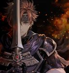 1boy armor binding_blade_(weapon) black_background blue_cape blue_eyes blue_gloves cape closed_mouth commentary embers fire fire_emblem fire_emblem:_the_binding_blade gloves hair_between_eyes headband looking_at_viewer one_eye_covered orange_hair roy_(fire_emblem) senano-yu short_hair simple_background solo spiky_hair upper_body
