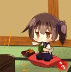 1girl artist_name blue_hakama brown_eyes brown_hair chibi commentary_request cracker cup cushion food hakama hakama_skirt japanese_clothes kaga_(kantai_collection) kantai_collection seiza senbei side_ponytail sitting solo taisa_(kari) tasuki tatami television watching_television yunomi zabuton