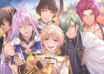 6+boys antenna_hair blonde_hair brown_hair cape clouds dark_skin dark_skinned_male green_hair hair_over_one_eye hat ishikirimaru japanese_clothes male_focus monoyoshi_sadamune multiple_boys neet_(neet-kuso) nikkari_aoe one_eye_closed ookurikara open_mouth pom_pom_(clothes) ponytail purple_hair redhead sengo_muramasa_(touken_ranbu) sky smile sunset tonbokiri_(touken_ranbu) touken_ranbu violet_eyes yellow_eyes
