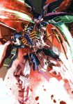 absurdres beam_scythe burning energy_weapon from_below glowing glowing_eyes green_eyes gundam gundam_deathscythe_hell gundam_wing highres joints kaneko_tsukasa mecha mechanical_parts mobile_suit no_humans official_art polearm ribs robot_joints rubble scan scythe shield skull_mask smoke weapon