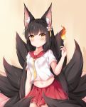 1girl absurdres alternate_costume animal_ear_fluff animal_ears azur_lane bangs beige_background black_hair blush breasts chinese_commentary collarbone commentary_request cowboy_shot crop_top eyebrows_visible_through_hair fire flower fox_ears fox_tail hair_flower hair_ornament hand_up highres hime_cut long_hair looking_at_viewer midriff multiple_tails nagato-chan nagato_(azur_lane) navel on_bed pleated_skirt red_sailor_collar red_skirt sailor_collar school_uniform serafuku shadow short_sleeves sidelocks sitting sitting_on_bed skirt small_breasts solo tail very_long_hair white_serafuku yellow_eyes