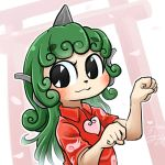 avatar_icon chamaji cloud_print commentary_request curly_hair green_eyes green_hair heart horn kariyushi_shirt komano_aun long_hair lowres red_shirt shirt shrine touhou