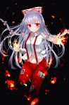 1girl arms_up black_background commentary_request cropped_legs embers eyebrows_visible_through_hair fire flaming_hand folded_leg fujiwara_no_mokou hair_between_eyes hair_ribbon long_hair long_sleeves looking_at_viewer midriff navel ofuda outstretched_hand pants red_eyes red_pants ribbon sakipsakip shirt sidelocks silver_hair smile solo standing standing_on_one_leg suspenders touhou tress_ribbon twitter_username very_long_hair white_shirt