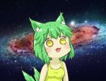 1girl animal_ear_fluff animal_ears bangs breasts cat_ears cat_girl cat_tail collarbone commentary_request eyebrows_visible_through_hair galaxy greenteaneko greenteaneko-chan highres open_mouth original small_breasts solo space space_cat_(meme) star_(sky) tail tank_top upper_body whiskers yellow_eyes yellow_tank_top