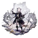 1girl alternate_costume animal_ears arknights bangs bare_legs black_coat black_dress black_footwear black_gloves boots coat dress eyebrows_visible_through_hair gloves grey_eyes grin hand_up highres holding holding_sword holding_weapon huanxiang_heitu lappland_(arknights) long_hair looking_at_viewer official_art open_clothes open_coat planted_sword planted_weapon sharp_teeth shirt short_dress silver_hair smile solo sword teeth transparent_background weapon white_shirt wolf_ears