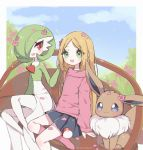 2girls :d bench black_skirt blonde_hair blue_sky clarevoir clouds cloudy_sky commentary day eevee english_commentary flower gardevoir gen_1_pokemon gen_3_pokemon green_eyes happy looking_at_viewer miniskirt multiple_girls no_shoes open_mouth original outdoors pink_legwear pokemon red_eyes signature sitting skirt sky smile socks