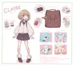 1girl :d alcremie alolan_form alolan_vulpix backpack bag blue_eyes border claire_(clarevoir) clarevoir commentary creature eevee english_commentary eyelashes gardevoir gen_1_pokemon gen_3_pokemon gen_6_pokemon gen_7_pokemon gen_8_pokemon green_border happy light_brown_hair open_mouth original pokemon pokemon_(creature) pokemon_(game) pokemon_swsh short_hair simple_background smile standing sylveon translation_request white_background yuuri_(pokemon)