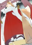 1girl animal_ears blush breasts broom commentary_request fox fox_ears fox_girl fox_tail from_below furry hakama holding holding_broom japanese_clothes kimono kishibe large_breasts miko original red_eyes red_hakama snout solo tabi tail torii white_kimono wide_sleeves